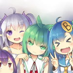 3: 4girls :d ;d >_< ahoge blue_hair borrowed_character brown_eyes closed_eyes demon_horns double_v fang girl_sandwich green_eyes green_hair hair_bobbles hair_ornament hands_on_shoulders horns jitome lavender_hair linda_b_(linda_b) mofetousu_furuna multiple_girls one_eye_closed open_mouth original pointy_ears pomo_(lino-lin) purple_eyes purple_hair sandwiched saru school_uniform serafuku smile twintails v xd