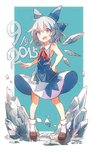 1girl 60mai :d adapted_costume bare_arms bare_shoulders blue_eyes blue_hair blush bobby_socks cirno commentary dress fang ice ice_wings loafers looking_at_viewer melting no_shirt open_mouth shoes short_hair sleeveless sleeveless_dress smile socks solo touhou v-shaped_eyebrows wings
