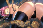 1girl all_fours aqua_eyes ass black_gloves black_legwear black_panties breasts clenched_teeth elbow_gloves from_behind gloves homare_(fool's_art) large_breasts original panties pink_hair solo tentacles thighhighs thong topless underwear