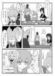 4girls bracelet building cape comic earmuffs feeding food greyscale hat hata_no_kokoro highres hijiri_byakuren indosou jewelry long_hair mask monochrome multiple_girls sitting soga_no_tojiko table tate_eboshi touhou toyosatomimi_no_miko translated