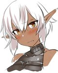 1girl bangs biting blush commentary_request dark_elf dark_skin de-chan_(lolicept) elf eyebrows_visible_through_hair hair_between_eyes lip_biting lolicept looking_at_viewer orange_eyes original pointy_ears short_hair simple_background solo sweatdrop upper_body white_background white_hair