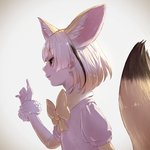 1girl animal_ears blonde_hair bow bowtie commentary_request elbow_gloves extra_ears eyebrows_visible_through_hair fennec_(kemono_friends) fox_ears fox_tail fur_trim gloves highres kemono_friends multicolored_hair profile puffy_short_sleeves puffy_sleeves short_hair short_sleeves solo tail takami_masahiro