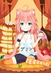 1girl :q ahoge animal_ear_fluff animal_ears bangs bike_shorts black_choker black_shorts blue_eyes blush cat_ears choker closed_mouth clothes_writing commentary_request doughnut eyebrows_visible_through_hair food fruit hair_between_eyes hair_bobbles hair_ornament highres hinata_channel holding holding_saucer holding_spoon long_hair low_twintails mismatched_legwear nekomiya_hinata no_shoes orange_legwear pancake pink_hair puddle saucer short_shorts shorts sitting smile solo spoon stack_of_pancakes strawberry striped striped_legwear tank_top thighhighs tongue tongue_out translated twintails very_long_hair virtual_youtuber wariza white_tank_top yuuuuu