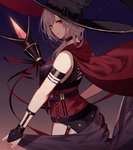 1girl arm_strap bangs black_pants bridal_gauntlets cape choker from_side garters hair_over_shoulder highres holding holding_staff hood hood_down hooded kisui_(user_wswf3235) long_hair looking_at_viewer original pants red_cape red_eyes red_ribbon ribbon silver_hair sleeveless smile solo staff standing swept_bangs