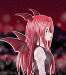 1girl :o bat_wings blush breasts collared_shirt dress_shirt hair_over_breasts head_wings juliet_sleeves koakuma lake light_particles long_hair long_sleeves necktie night night_sky outline profile puffy_sleeves red red_eyes red_hair reflection reimei_(r758120518) shirt sky solo touhou vest white_shirt wings