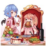 2girls :t ascot bat_wings blonde_hair blue_hair blush bottle bowl cake chair chocolate_syrup commentary crystal cup detached_wings dress drinking_glass eating english_commentary eyebrows_visible_through_hair fangs flandre_scarlet food fork fruit glass_bowl gradient gradient_background hair_between_eyes hamburger hand_up highres holding holding_bowl holding_food hot_dog ice ice_cream ice_cube looking_at_viewer meatball multiple_girls mustard nail_polish no_hat no_headwear omurice pasta pink_background pink_dress plate pocky pointy_ears puffy_short_sleeves puffy_sleeves red_eyes red_nails red_neckwear red_vest remilia_scarlet short_hair short_sleeves siblings side_ponytail sisters sitting spaghetti standing strawberry table takoyaki toothpick touhou vest wafer_stick white_background wine_bottle wing_collar wings wrist_cuffs yoruny