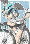 1girl ;) african_wild_dog_(kemono_friends) alternate_costume animal_ears ategon bare_arms bare_legs bicycle bicycle_helmet bike_shorts biker_clothes black_hair closed_mouth contemporary dog_ears dog_tail ears_through_headwear gloves green_eyes grey_hair ground_vehicle helmet highres japari_symbol kemono_friends leaning_forward leaning_on_object looking_at_viewer lucky_beast_(kemono_friends) multicolored_hair one_eye_closed shirt short_sleeves smile solo sportswear standing sticker tail two-tone_hair