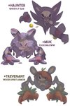 artist_name character_name commentary creature dar-draws english_commentary english_text full_body fusion gen_1_pokemon gen_5_pokemon gen_6_pokemon haunter highres looking_at_viewer muk no_humans pokemon pokemon_(creature) reuniclus simple_background trevenant white_background
