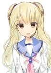 1girl :d absurdres angel_beats! bangs blonde_hair brown_eyes commentary_request eyebrows_visible_through_hair eyes_visible_through_hair hair_between_eyes hair_ornament hair_ribbon headset highres huge_filesize key_(company) long_hair long_sleeves looking_at_viewer microphone open_mouth ribbon school_uniform shirt simple_background smile solo teeth white_background white_shirt yusa_(angel_beats!) zuzuhashi