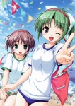 2girls :d ;d asagiri_mai bekkankou blue_eyes brown_hair buruma confetti flag green_hair gym_uniform headband multiple_girls numbered_flag one_eye_closed open_mouth ponytail smile sports_festival tooyama_midori v yoake_mae_yori_ruri_iro_na