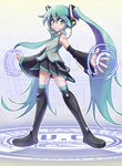 1girl aqua_eyes aqua_hair bangs bare_shoulders black_legwear closed_mouth commentary_request detached_sleeves eyebrows_visible_through_hair flat_chest full_body hair_between_eyes hatsune_miku headphones headset long_hair miniskirt necktie simple_background skirt solo standing thighhighs twintails very_long_hair vocaloid white_background yuusuke_(5yusuke3)