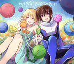 1boy 1girl :d bird blonde_hair blush bracelet breasts brother_and_sister brown_hair cagalli_yula_athha closed_eyes collarbone dress green_dress gundam gundam_seed happy_birthday haro highres holding_hands interlocked_fingers jewelry kira_yamato looking_at_viewer medium_breasts necklace open_mouth pilot_suit ring short_dress short_hair siblings sleeveless sleeveless_dress smile spoilers strapless strapless_dress yuuka_seisen