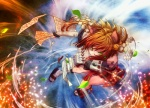 1girl adapted_uniform animal_ears attack bad_id bad_pixiv_id bell cat_ears detached_sleeves fighting_stance floating foreshortening hair_bell hair_ornament hip_vent japanese_clothes jingle_bell leaf miko ofuda orange_hair original shide shiroi_karasu slippers solo tabi wind yellow_eyes yin_yang