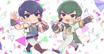 2boys bandana blue_hair brothers chibi f6 green_hair highres idol male_focus matsuno_choromatsu matsuno_karamatsu microphone momoyo_(mm29) multiple_boys osomatsu-kun osomatsu-san siblings sleeveless smile triangle