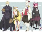 4boys artist_name blonde_hair blue_eyes dragon_tail facial_mark fate/extra fate/extra_ccc fate/grand_order fate/prototype fate_(series) food genderswap genderswap_(ftm) hat horns ibaraki_douji_(fate/grand_order) japanese_clothes jewelry kimono kokesakeko lancer_(fate/extra_ccc) long_hair looking_at_viewer marie_antoinette_(fate/grand_order) multiple_boys oni oni_horns pink_hair pointy_ears saber saber_(fate/prototype) saber_alter signature silver_hair smile tail tattoo tricorne yellow_eyes