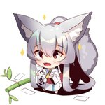 1girl :d absurdly_long_hair animal_ear_fluff animal_ears bamboo bangs barefoot blush calligraphy_brush chibi commentary_request eyebrows_visible_through_hair fox_ears fox_girl fox_tail full_body hair_between_eyes high_ponytail holding holding_paintbrush japanese_clothes kimono long_hair long_sleeves looking_away obi open_mouth original paintbrush patches ponytail red_eyes sash sidelocks silver_hair smile solo sparkle standing tail tail_raised tanabata tanzaku translation_request very_long_hair white_background white_kimono wide_sleeves yuuji_(yukimimi)