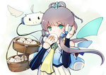 1girl absurdres ahoge bamboo_steamer baozi bare_shoulders benghuai_7 bucket cravat food green_eyes hair_ornament hair_rings headphones highres long_hair long_sleeves looking_at_viewer luo_tianyi monster ribbon simple_background solid_oval_eyes solo tareme tian_dian twintails vocaloid vocanese wings