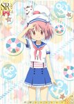 1girl alternate_costume hat jewelry kaname_madoka kyubey mahou_shoujo_madoka_magica necklace official_art pink_eyes pink_hair pipe sailor sailor_collar sailor_hat salute shirt short_hair short_twintails skirt striped striped_shirt suspenders trading_card twintails