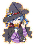 1girl blue_eyes blue_hair braid candy cape facepaint halloween hat hat_ornament jack-o'-lantern lollipop looking_at_viewer mattaku_mousuke mouth_hold original pumpkin shirt solo star star-shaped_pupils striped striped_shirt symbol-shaped_pupils witch_hat