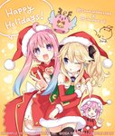 3girls animalization bird blonde_hair christmas commentary_request compile_heart d-pad d-pad_hair_ornament dual_persona gift hair_ornament hat histoire ileheart long_hair looking_at_viewer multiple_girls neptune_(neptune_series) neptune_(series) official_art open_mouth pink_hair purple_eyes purple_hair santa_costume sidelocks smile star star-shaped_pupils symbol-shaped_pupils tsunako twintails v virtual_youtuber