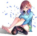 1girl barefoot blue_eyes blush brown_footwear cardigan closed_mouth eyebrows_visible_through_hair eyes_visible_through_hair feet go-toubun_no_hanayome green_skirt headphones headphones_around_neck highres legs long_sleeves looking_at_viewer nakano_miku no_legwear red_hair shoes shoes_removed short_hair signature sitting skirt solo taiyaking white_background