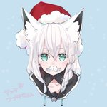1girl animal_ears aoiro_0w0 blue_background blue_eyes braid collarbone commentary_request facial_hair fox_ears hair_between_eyes hat hololive looking_at_viewer mustache portrait santa_hat shirakami_fubuki side_braid silver_hair simple_background snowflakes solo translation_request virtual_youtuber