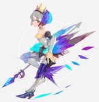 1girl amakusa_(hidorozoa) bare_shoulders boots bracer breasts closed_mouth crown from_side full_body grey_background grey_hair gwendolyn hairband high_heel_boots high_heels holding holding_weapon knee_pads looking_at_viewer medium_breasts odin_sphere polearm purple_eyes short_hair simple_background solo spear standing standing_on_one_leg weapon wings