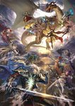 absurdres animal_ears arjuna_(fate/grand_order) arjuna_(fate/grand_order)_(cosplay) arm_armor arm_up armor blonde_hair blue_hair bodysuit breasts brown_hair cape carmilla_(fate/grand_order) cloud commentary_request cosplay dragon dragon_horns dragon_wings dual_wielding elizabeth_bathory_(fate)_(all) epic fate/grand_order fate_(series) flag floating flying glowing glowing_eyes green_eyes headpiece highres horns james_moriarty_(fate/grand_order) jeanne_d'arc_(alter)_(fate) jeanne_d'arc_(fate)_(all) karna_(fate) kito_(kito2) large_breasts li_shuwen_(fate) lightning lion lion_ears long_hair monocle nikola_tesla_(fate/grand_order) pixiv_fate/grand_order_contest_2 pointy_ears polearm ponytail purple_hair red_hair scathach_(fate/grand_order) sherlock_holmes_(fate/grand_order) shoulder_cannon siegfried_(fate) sky sleeveless spear sunlight sword tank_top thighhighs thomas_edison_(fate/grand_order) weapon white_hair wings