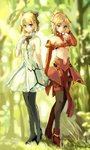 2girls artoria_pendragon_(all) black_bow black_footwear black_legwear black_ribbon blonde_hair bow bra breasts choker cleavage day dress fate/apocrypha fate/grand_order fate/unlimited_codes fate_(series) forest full_body gloves green_eyes hair_bow hair_ornament hair_scrunchie hand_in_hair high_ponytail highres holding_hands looking_at_viewer mordred_(fate) mordred_(fate)_(all) multiple_girls nature neck_ribbon outdoors pantyhose pumps red_bra red_footwear red_scrunchie ribbon saber_lily scrunchie short_dress sketch sleeveless sleeveless_dress small_breasts standing strapless strapless_dress striped striped_bra thighhighs touru_10ru twitter_username underboob underwear white_dress white_gloves