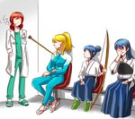 4girls arrow_in_body ayase_eli blonde_hair blue_hair bow_(weapon) chair cigarette dha315 facepalm family flip-flops hair_bun hair_ornament hair_scrunchie hands_in_pockets holding holding_bow_(weapon) holding_weapon if_they_mated impaled long_hair long_sleeves looking_at_another love_live! love_live!_school_idol_project love_live!_sunshine!! lowres matsuura_kanan medium_hair meme multiple_girls muneate nishikino_maki older photo-referenced red_hair sandals scrunchie sitting slippers smoking socks sonoda_umi weapon what_if white_legwear white_scrunchie younger