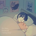 1boy android bed black_eyes black_hair comforter deal_(va-11_hall-a) do_androids_dream_of_electric_sheep? doge lying male_focus on_side poster_(object) solo stuffed_animal stuffed_toy va-11_hall-a welsh_corgi y_(35504109)