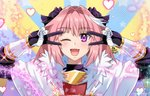 1boy astolfo_(fate) bangs black_bow black_gloves blue_background blush bow braid breastplate breasts cloak double_v emotional_engine_-_full_drive fang fate/apocrypha fate/grand_order fate_(series) fur-trimmed_cloak fur_trim gauntlets gloves hair_between_eyes hair_bow hair_intakes hands_up heart long_braid long_hair long_sleeves looking_at_viewer male_focus maroonabyss multicolored_hair one_eye_closed open_mouth otoko_no_ko parody pink_hair purple_eyes single_braid skin_fang smile solo sparkle streaked_hair striped striped_background v white_cloak white_hair yellow_background