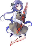 1girl barefoot biwa_lute brown_dress chain dress flower hair_flower hair_ornament highres instrument long_hair long_sleeves low_twintails lute_(instrument) purple_eyes purple_hair shirt smile solo touhou tsukumo_benben twintails upskirt uranaishi_(miraura) very_long_hair