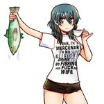 1girl blue_eyes blue_hair byleth_(fire_emblem) byleth_(fire_emblem)_(female) clothes_writing commentary cup dripping english_text fire_emblem fire_emblem:_three_houses fish holding_fish kataro long_hair pinky_out profanity shirt shorts simple_background solo t-shirt teacup white_shirt