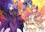 2girls armlet aunt_and_niece black_gloves blue_eyes blue_hair breasts breasts_apart cape caster circe_(fate/grand_order) circlet commentary_request dress fate/grand_order fate/stay_night fate_(series) gloves head_wings holding holding_staff komainu_(yamaha1997) long_dress long_hair looking_at_viewer medium_breasts multiple_girls pink_hair pixiv_fate/grand_order_contest_2 pointy_ears purple_dress purple_eyes skirt sleeveless small_breasts smile staff white_skirt wings