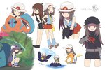 1girl :d :o >_< ^_^ back-to-back bag blue_(pokemon) blush breasts brown_eyes brown_hair cabbie_hat cleavage closed_eyes cosplay deoxys dress full_body gloves grass happy hat leaf leaning_forward long_hair looking_at_viewer musical_note open_mouth pokemon pokemon_(creature) pokemon_(game) pokemon_frlg pokemon_special raichu rain red_skirt shirt shirt_pull simple_background sitting skirt sleeveless sleeveless_shirt smile solo_focus sun_hat team_rocket team_rocket_(cosplay) text unini_99 venusaur water white_background