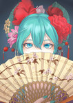1girl absurdres alternate_hairstyle aqua_eyes aqua_hair artist_request blue_background covering_mouth fan hair_between_eyes hair_ornament hatsune_miku highres nail_polish paper_fan solo vocaloid