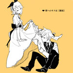 1boy 1girl aku_no_meshitsukai_(vocaloid) aku_no_musume_(vocaloid) allen_avadonia bare_legs barefoot bow brother_and_sister dress dress_lift evillious_nendaiki hair_bow hair_ornament hairclip half-closed_eyes incest kagamine_len kagamine_rin leg_hug leg_kiss looking_at_viewer lowres michiko_(nohohon-ya) monochrome necktie orange_background parted_lips riliane_lucifen_d'autriche sexually_suggestive short_hair siblings sitting sketch sleeveless_blazer topknot twincest twins vocaloid