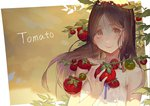 1girl bangs bare_shoulders brown_eyes brown_hair closed_mouth commentary dress english_commentary highres holding kuroduki_(pieat) long_hair looking_at_viewer original parted_bangs smile solo tareme tomato upper_body white_dress