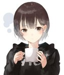 1girl bangs black_hoodie blush brown_eyes brown_hair closed_mouth clothes_writing commentary_request cup eyebrows_visible_through_hair fingernails head_tilt highres holding holding_cup hood hood_down hoodie long_sleeves looking_at_viewer mug original shii_(kairi-t-k0317) short_hair sleeves_past_wrists solo white_background