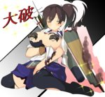 1girl arrow blush breast_hold breasts brown_eyes brown_hair censored character_censor damaged flight_deck kaga_(kantai_collection) kantai_collection kyuchan large_breasts long_hair muneate novelty_censor quiver senran_kagura senran_kagura_(series) side_ponytail sitting skirt solo sparkle torn_clothes wariza
