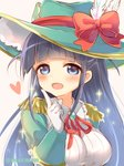 1girl :d black_hair blue_eyes blush bow breasts brown_background collared_shirt commentary_request epaulettes feathers frilled_shirt_collar frills gloves green_hat hand_up hat hat_bow hat_feather heart index_finger_raised large_breasts long_hair looking_at_viewer marshmallow_mille neck_ribbon open_mouth red_bow red_ribbon ribbon shirt shoujo_kageki_revue_starlight simple_background smile solo sparkle tsuyuzaki_mahiru twitter_username two_side_up upper_body very_long_hair white_feathers white_gloves white_shirt witch_hat