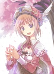 1girl atelier_(series) atelier_rorona bad_id bad_pixiv_id breasts brown_hair cape cherry_blossoms cleavage hat open_mouth purple_eyes rororina_fryxell small_breasts smile solo steepled_fingers yuguru