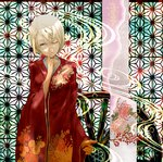 1girl asa_no_ha_(pattern) blonde_hair blue_eyes branch finger_to_mouth floral_print highres japanese_clothes kagamine_rin kimono looking_at_viewer nine_(plantroom9) one_eye_closed quareallel_(vocaloid) short_hair solo vocaloid wheel