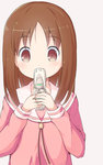 1girl azumanga_daiou bangs brown_eyes brown_hair cellphone covering_mouth eyebrows_visible_through_hair flip_phone holding holding_cellphone holding_phone kasuga_ayumu long_hair long_sleeves looking_at_viewer nekono_rin phone pink_background pink_skirt sailor_collar school_uniform serafuku simple_background skirt solo white_sailor_collar
