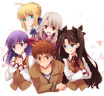 1boy 4girls blonde_hair blue_eyes brown_hair emiya_shirou fate/stay_night fate_(series) green_eyes harem highres illyasviel_von_einzbern kuma_yuu matou_sakura multiple_girls purple_eyes purple_hair red_eyes saber school_uniform toosaka_rin white_hair