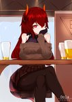 1girl absurdres alcohol aran_sweater arm_support bangs bare_shoulders beer black_gloves blush breasts brown_legwear brown_skirt brown_sweater character_name choumi_wuti_(xueye_fanmang_zhong) commentary covered_collarbone covered_mouth crossed_legs cup curled_horns day dola_(nijisanji) dragon_girl dragon_horns dragon_tail drinking_glass gloves hair_between_eyes highres horns indoors large_breasts long_hair looking_at_viewer nijisanji off-shoulder_sweater off_shoulder pantyhose pencil_skirt plaid plaid_skirt red_eyes red_hair ribbed_sweater sitting skirt solo sweater tail very_long_hair virtual_youtuber window