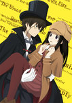 1boy 1girl black_cape black_hair black_hat black_pants blush bow bowtie brown_hat brown_shirt brown_skirt cape capelet carrying chitanda_eru dutch_angle eye_contact formal gloves green_eyes grey_bow grey_neckwear hat hyouka kimi_ni_matsuwaru_mystery long_hair looking_at_another monocle open_mouth oreki_houtarou pant_suit pants pantyhose pleated_skirt princess_carry purple_eyes red_legwear shirt skirt standing suit white_gloves white_shirt yellow_background zoom_(artist)