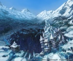 building castle cloud day house mountain munashichi no_humans original scenery snow