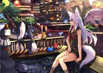 3girls animal_ear_fluff animal_ears bird blonde_hair blurry blurry_background building eyebrows_visible_through_hair facing_viewer fox_ears fox_tail haik japanese_clothes long_hair looking_to_the_side miko multiple_girls multiple_tails original outdoors penguin red_eyes sailor_collar silver_hair sitting sleeveless soaking_feet tail tree water